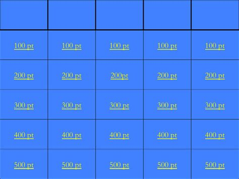 jeopardy printable template blank jeopardy template free premium