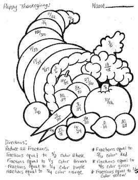 fraction coloring sheets thanksgiving reducing fractions coloring sheet by