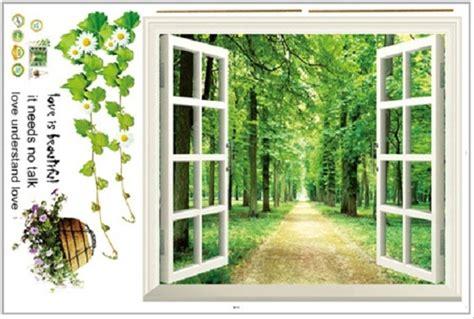 jual set stiker dekorasi dinding motif jendela