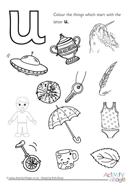 u words coloring page things that start with the letter u letter of recommendation