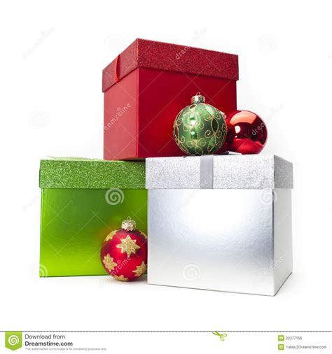 christmas gift box ornaments stock photo image 22377156