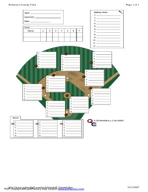 baseball depth chart template defensive lineup card fill printable fillable