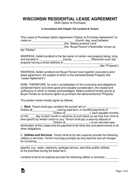 Free Wisconsin Residential Lease Agreement With Option To Purchase Pdf Word Eforms Free Wisconsin Rental Lease Agreement Template