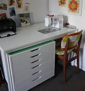 ikea hack kitchen cabinet desk ikea sewing room furniture gunson s modified ikea table and rolling drawer unit sewing