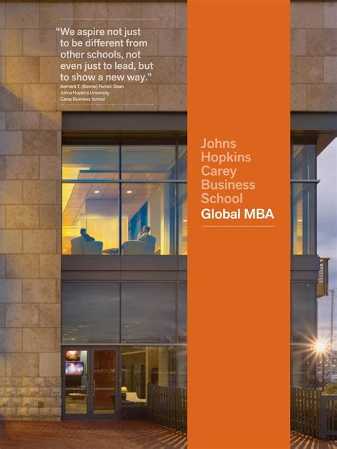 Jhu Mba Ranking by Carey Business School Global Mba Brochure By Johns