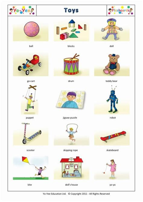 toys flashcards in for children 玩具