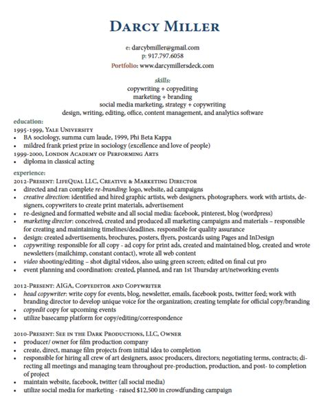 Resume Sles Freelance Writer Contract Writer Resume