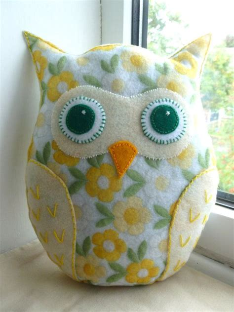 Handmade Felt Pillows - mini owl pillow owl cushion lavender scented felt