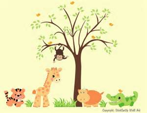 Baby Animal Wall Stickers Sweet Baby Zoo Animals And Tree Wall Decals
