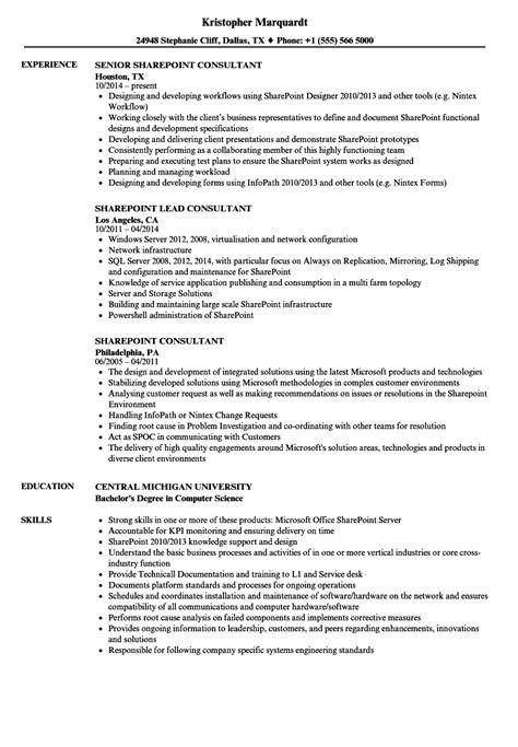 Sharepoint Consultant Resume sharepoint consultant resume sles velvet