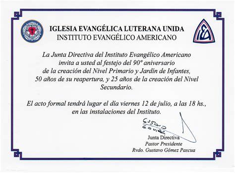 como hacer una invitacion para un culto cristiano aniversario del instituto evang 233 lico americano en jos 233 c