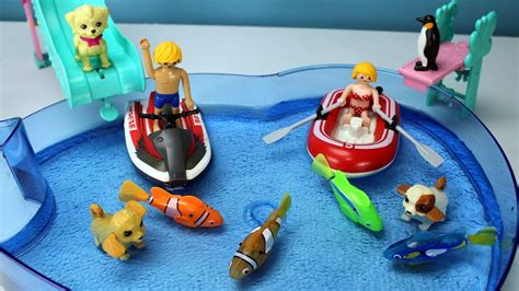 playmobil raft by one fish playmobil summer raft playset with swimming puppies