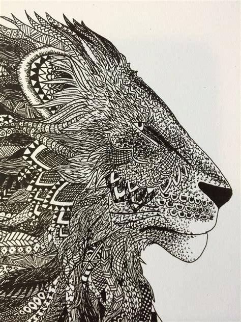 pattern drawing lion regal lion zentangle art print
