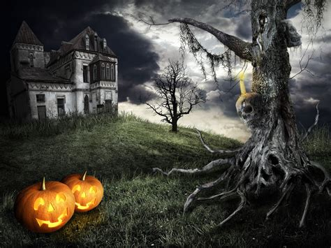 themes of halloween happy halloween theme mystical tree on the background of