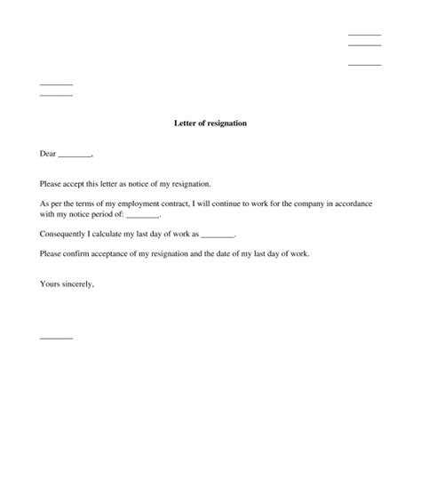 letter of resignation sle template word and pdf
