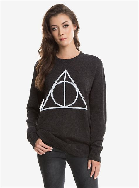 Harry Potter Sweater Black harry potter deathly hallows womens intarsia pullover