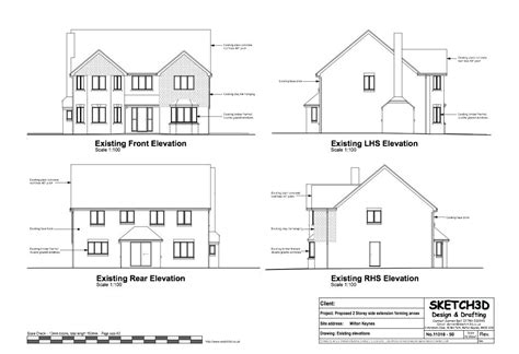 floor plans and elevation drawings exle annex plans two storey side extension and loft conversion