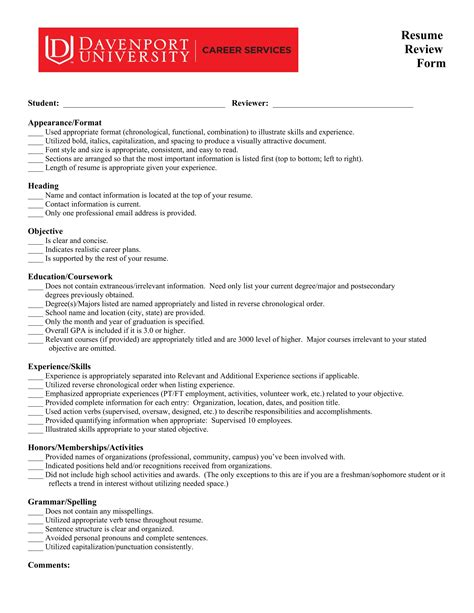 14 resume evaluation forms free word pdf format