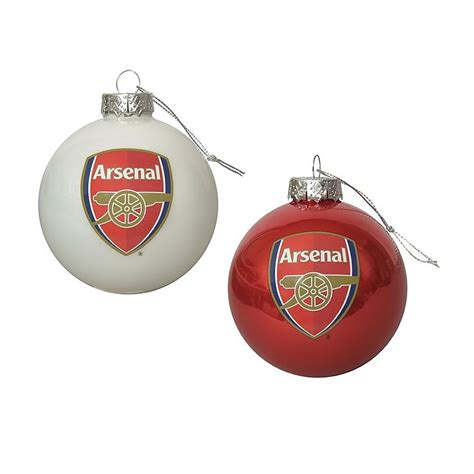 arsenal xmas baubles arsenal 2 pack of christmas baubles home car by