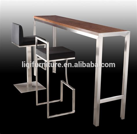high top bar high quality brushed stainless steel bar table with tempered top or wood top lq bt102