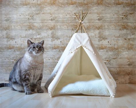 dog teepee bed cat bed cat teepee dog teepee with cushion ivory solid