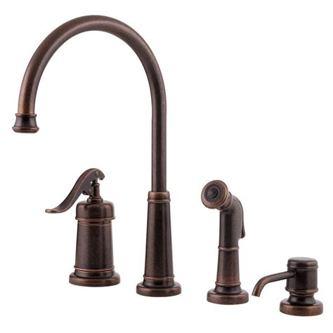 Kitchen Faucet Bronze Pfister Ashfield Single Handle Side Sprayer Kitchen Faucet And Soap Dispenser In Rustic Bronze