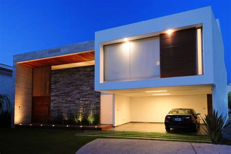 front view modern house with tiles wall decor interior