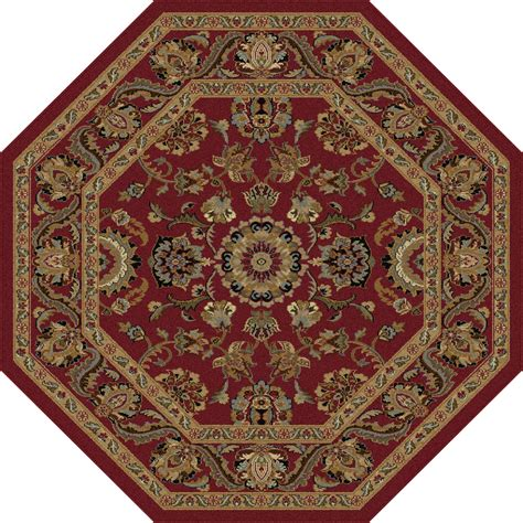 Kmart Kitchen Rugs Tayse Rugs Sensation Brookville Red 5 Ft 3 In Octagon