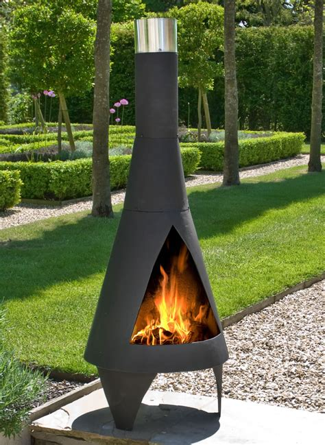 Chimeneas Outdoor Colorado Black Medium Steel Chimenea By La Hacienda 163 111