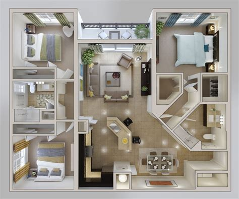 How To Decorate A 3 Bedroom House by 50 Three 3 Bedroom Apartment House Plans 평면도 집 평면도 및 집