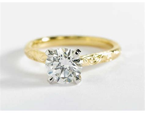 Engraved Solitaire Engagement Ring In 18k Yellow Gold by Engraved Solitaire Engagement Ring In 18k Yellow Gold