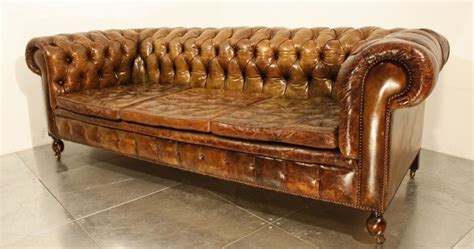 47 Park Avenue A Vintage 1920 S Leather Chesterfield Sofa Pre Owned Chesterfield Sofa