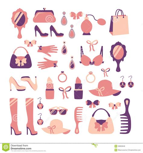 vector illustration of a stylish woman accessories icon set stock vector image 39800846