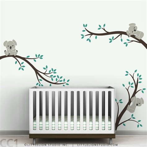 Baby Nursery Tree Wall Decals Koala Wall Decal Sleeping Koalas On Tree Branches Baby Nursery Modern Decor By Littlelion Studio