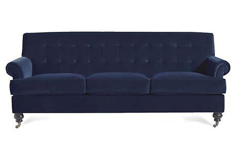 whitby 89 quot velvet sofa navy