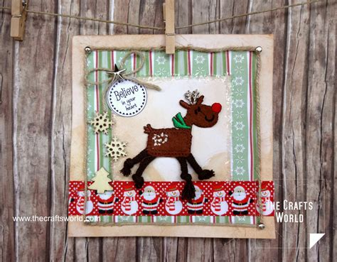Handmade Reindeer - handmade cards with iron on patches the crafts