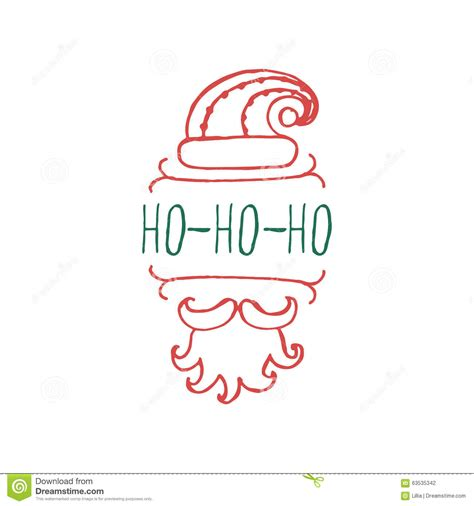 Kaos Santa Mustache Ho Ho Ho label with text on white background stock vector image 63535342