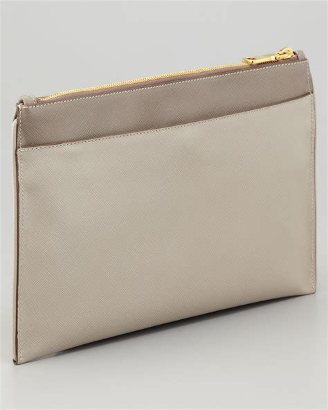Clucth Handbag Safiano prada bicolor zip clutch bag in gray lyst