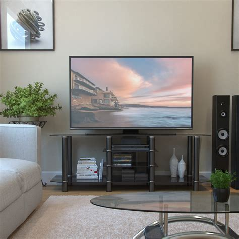 60 inch tv salerno 60 inch glass tv stand in black