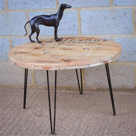 cable coffee table cable reel coffee table with hairpin legs