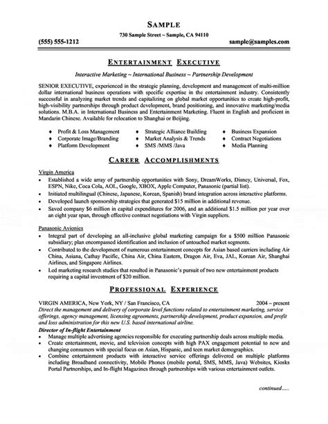 Resume Sles Entertainment Industry Entertainment Executive Resume