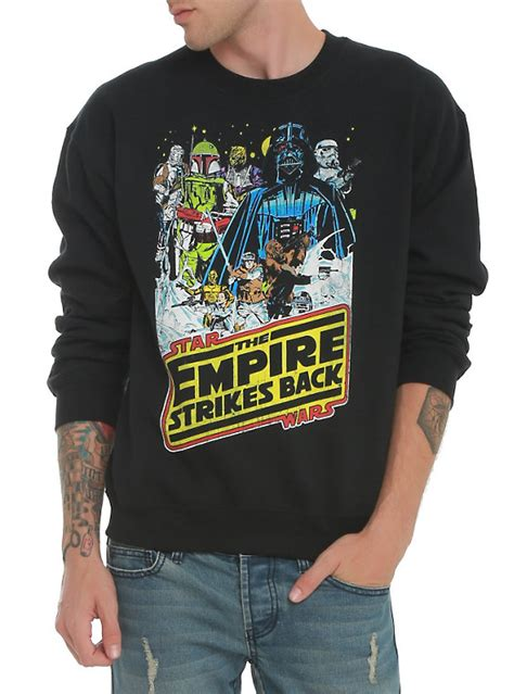 Hoodie Empire Strikes Wars Black wars the empire strikes back crew pullover topic