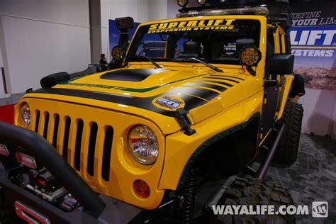 yellow jeep 4 door 2012 sema superlift yellow 4 door jeep jk wrangler