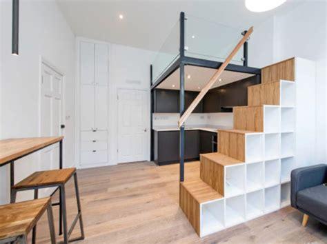 contemporary mezzanine loft  stairs  storage