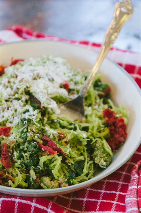 spaghetti squash pesto with tomatoes recipe dishmaps