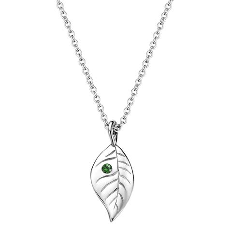 tourmaline leaf pendant in silver