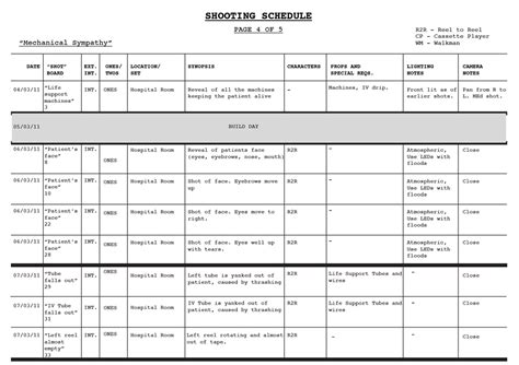 Shooting Schedule Blood Shot Productions Shooting Schedule Template