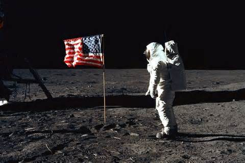 Neil Armstrong An American Neil Armstrong On The Moon With Flag Nasa Pics About Space