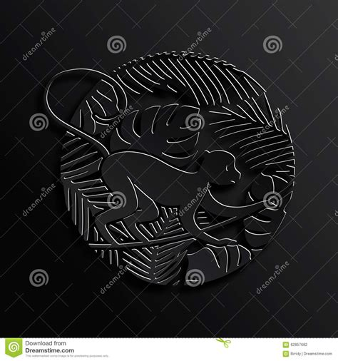 new year traditions and symbols decorative monkey in jungle in black color stock vector
