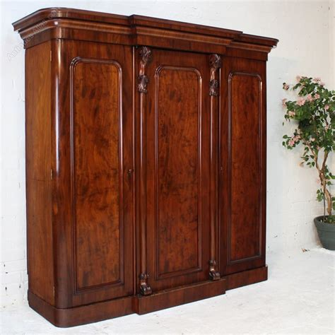 Breakfront Wardrobe by Mahogany Three Door Breakfront Wardrobe